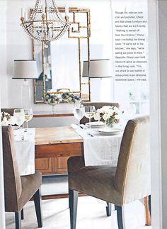 rustic table + chandelier + mirror = LOVE