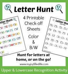 Letter Hunt check off sheets - FREE printable; Hunt for letters at home, or on the go!