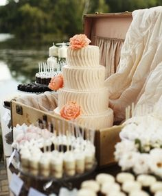 Love the cake and display with dessert bar! Classic Suitcases- Perfect for Wedding Decor » Alexan Events | Denver Wedding Planners, Colorado Wedding and Event Planning