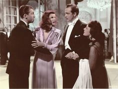 Jimmy Stewart, Katharine Hepburn and John Howard in THE PHILADELPHIA STORY (1940). A vintage colorized photo.