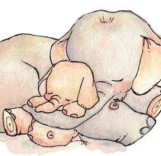 Enfants Art Print. Mon bébé éléphant. 8 X 10 par LoxlyHollow