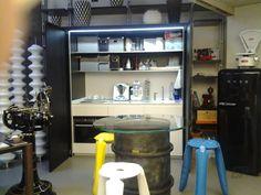 kitchen rollaway Milan Navigli, Hidden Kitchen, Custom Cabinets, Ground Floor, Living Area, Liquor Cabinet, Loft, Flooring, Storage