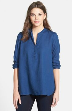 Eileen Fisher - Band collar organic linen tunic