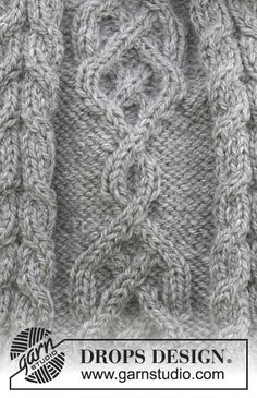 """DROPS - Moss stitched DROPS head band in 2 threads """"Eskimo"""" and scarf with cables in """"Alaska"""". - Free pattern by DROPS Design Cable Knitting Patterns, Knitting Designs, Knitting Stitches, Free Knitting, Drops Design, Magazine Drops, Drops Patterns, Moss Stitch, Mittens Pattern"""