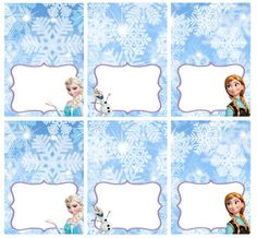 Disney Frozen Food Labels Placecards Tent Cards by LittleBugShoppe, $4.00
