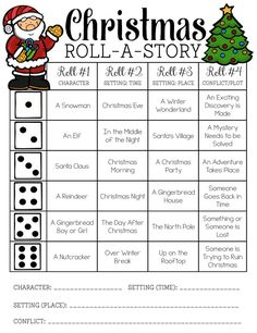 christmas activities Christmas Roll-a-Story FREEBIE! Teaching Writing, Writing Activities, Classroom Activities, Classroom Fun, Therapy Activities, Teaching Resources, Teaching Ideas, Writing Assignments, Writing Prompts