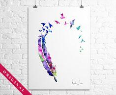 Original Watercolor Painting  Colorful Birds by WatercolorOriginal, $80.00