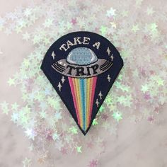 Take a Trip UFO Patch - Iron On Embroidered Patches - Alien, Outer Space, Trippy by WildflowerandCompany on Etsy https://www.etsy.com/listing/508891846/take-a-trip-ufo-patch-iron-on