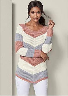 Venus Women's Striped Sweater Sweaters Venus Women's Striped Sweater Sweaters Knit Sweater Dress, Sweater Shop, Knitted Poncho, Black Crochet Dress, Crochet Blouse, Crochet Clothes, Diy Clothes, Crochet Sweaters, Teen Winter Outfits