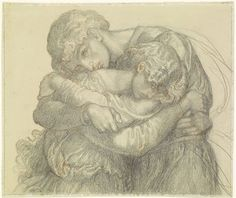 The Blessed Damozel - Study for one of the Pairs of Lovers by Dante Gabriel Rossetti