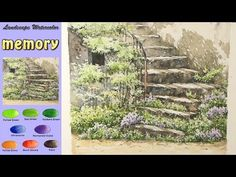 Drawing Landscape Watercolor- Memory (wet-in-wet. Watercolor Video, Watercolour Tutorials, Watercolor Techniques, Watercolor Landscape, Landscape Paintings, Watercolor Paintings, Watercolors, Spring Landscape, Art Tutorials