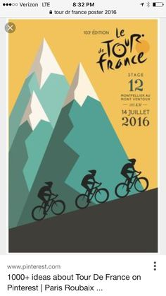 2016 Tour de France poster by Hayley Kirkman: Cycling Graphics Poster Bike, Bike Speed, Wall Art Crafts, Velo Vintage, Bike Illustration, Plakat Design, Tour Posters, Bicycle Art, Cycling Art