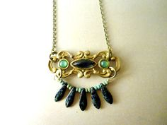 Necklace Vintage Inspired Seaweed  Deep Blue by SimoneSutcliffe, $36.00 https://www.etsy.com/listing/71201126/necklace-vintage-inspired-seaweed-deep?ref=shop_home_active_1