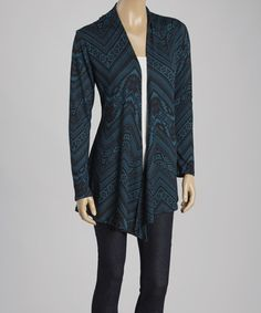 Look what I found on #zulily! Teal & Black Tribal Open Cardigan by Love Crazy Apparel #zulilyfinds