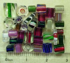 34 Assorted David Christensen Chub Slice Cane Glass Clearance Beads 2 5/8 oz Lot