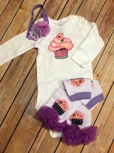 Cupcake Baby Onesie Toddler Shirt Flower by CountryHeartDesignz
