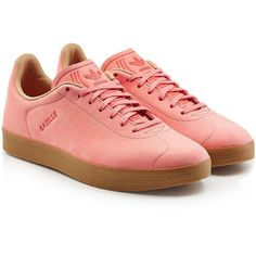 Adidas Originals Gazelle Suede Sneakers ($125) ❤ liked on Polyvore featuring men's fashion, men's shoes, men's sneakers, pink, mens pink shoes, mens suede shoes, mens pink sneakers and mens suede sneakers