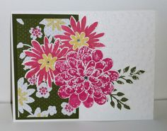 Notecard using Flower Patch stamp set, Flower Flair Framelits and All Abloom paper stack from Stampin' Up! Check www.lindamadison.stampinup.net for information about my stamping classes.