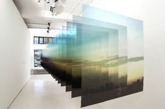Nobuhiro Nakanishi. Layer drawing - Tokyo Sunrise - inkjet print on film, acrylic plastic 100x100x700cm 2010 via Kashya Hildebrand Gallery, Zurich