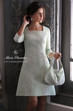 Stylish wedding dress for your second nuptials by Maria Picaretta Day Dresses, Dress Outfits, Short Dresses, Fashion Dresses, Formal Dresses, Wedding Dresses, Tweed Dress, Lace Dress, Dress Up