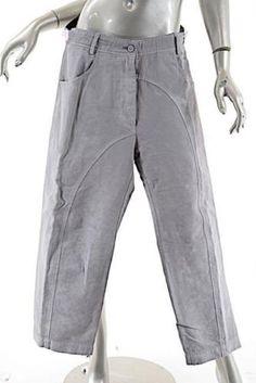 RUNDHOLZ-DIP-Light-Gray-Distressed-Cotton-Linen-Blend-Crop-Pant-GREAT-Sz-XS