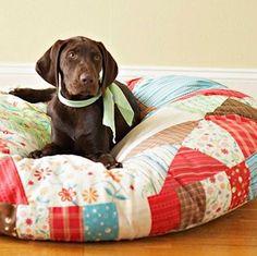 DIY patchwork pillow bed.