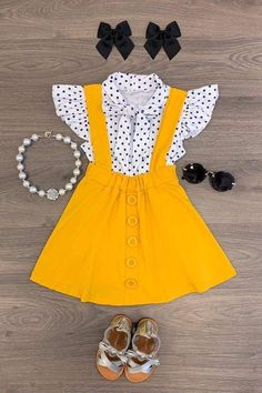 Polka Dot Mustard Suspender Skirt Set – Sparkle In Pink Little Girl Outfits, Toddler Girl Outfits, Little Girl Fashion, Baby Girl Dresses, Baby Dress, Kids Outfits, Kids Fashion, Cute Outfits, Toddler Fashion