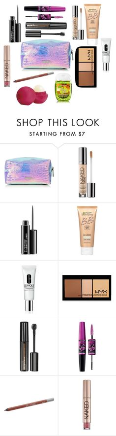 Makeup Bags by graciswank on Polyvore featuring beauty, NYX, Miracle Skin Transformer, Clinique, Maybelline, Urban Decay, MAC Cosmetics and Eos