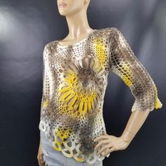 Tempo-Paris-Hippy-Boho-Sunflower-Asymmetrical-Long-Sleeve-Crochet-Net-Top-Sz-S