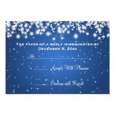 Elegant Wedding RSVP Winter Sparkle Blue Card