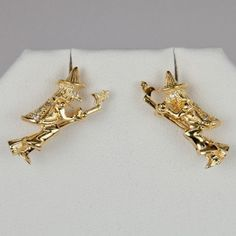 """Pair of Gold Vermeil and diamond witch """"STREGA"""" earrings with post backs. Made in and popularized by the town of Benevento in Southern Italy."""