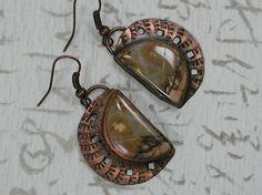 Red Creek Jasper Earrings Set in Copper by SilverSeahorseDesign, $30.00 Copper Sheets, Half Circle, Jasper Stone, Copper Earrings, Stone Pendants, Pocket Watch, Earring Set, Jewelry Art, Dangles