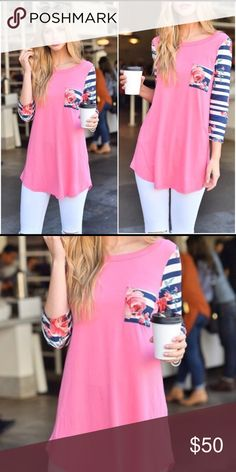 🌷New Arrival🌷 3/4 Sleeve Top Pink 3/4 sleeve top with stripes and floral accents.  Longer fit, stretchy, and super comfy.  Perfect for spring and fall paired with a pair of skinny jeans.  94% Rayon/ 6% Spandex Twilight Gypsy Collective Tops Tunics