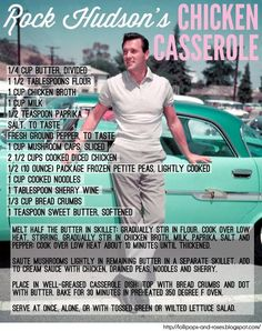 Rock Hudson's Chicken Casserole ~ I can sub the chicken but this sounds good! Retro Recipes, Old Recipes, Vintage Recipes, Cooking Recipes, Blender Recipes, Cookbook Recipes, Easy Recipes, Recipies, Chicken Casserole