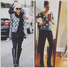 """Andrea Pelzel on Instagram: """"As soon as I saw this #pin I knew I could recreate this #ootd fully from my #thrifted closet // so today's #pinneditthriftedit for #StyleMeThriftedNovember // outfit details: Polka dot sweater - #americaneagle $3.99 #goodwill Black skinny jeans - #hm $3 from major sale Black booties - #blowfishshoes $29.99 #tjmaxx #wiw #lookforless #styleonabudget #keepinitthrifty #celebritystyle #goodwilloutfit #StyleMeThriftNobember"""
