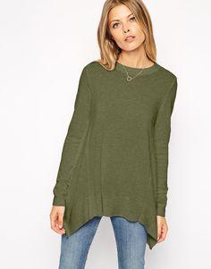 ASOS Trapeze Sweater in Fine Knit in khaki -- $54.00