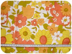 Floral retro vintage fabric NOS / New Old Stock - yellow, green, orange and peach