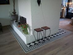 Cement tiles in wood