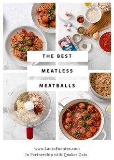 #ad Simple and delicious easy meatless meatballs to make spaghetti night fun! These meatballs are made with oats and white beans and have a terrific texture and taste delicious. Healthy Dinner Recipes, Vegetarian Recipes, Skinny Recipes, A Food, Good Food, Food Kids, Italian Diet, Meatless Meatballs, Whole Wheat Spaghetti