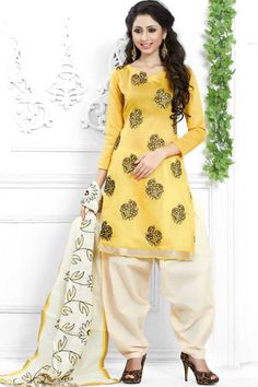 #Andaazfashion presents Yellow Cotton Patiala Suit With Embroidered Dupatta  http://www.andaazfashion.fr/salwar-kameez/patiala-suits/yellow-cotton-patiala-suit-with-embroidered-dupatta-dmv13761.html