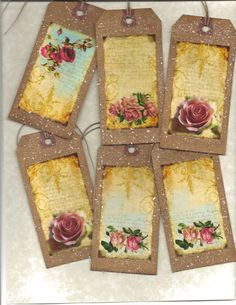 12 PRIMITIVE TAGS       Vintage Roses      Hang Tags     folk     Grungy. $3.99, via Etsy.