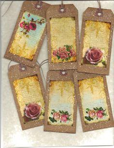 12 PRIMITIVE TAGS       Vintage Roses      Hang Tags     folk     Grungy. $3.99, via Etsy.