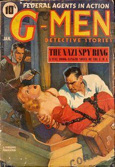 G-Men Detective Stories magazine, woman dame captive hostage kidnap murder tied bound chained chains man hoodlum agent rescue gun pistol revolver danger weighted overboard drown