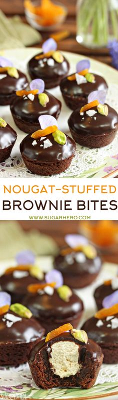 Nougat-Stuffed Brownie Bites - moist mini brownies filled with the ...