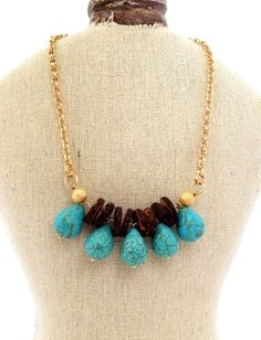 Turquoise drops necklace Wood beads by AcuarelaAccessories on Etsy, $55.00