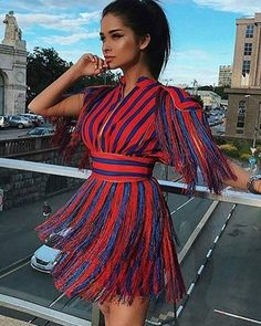 7b911b9a4ddd New Women Tassel Mini Sexy Dress Red Blue Striped Vestidos Elegant Celebrity  Evening Party Dresses.Women s Short Sleeves Red and Blue Striped Tassel  Fringe ...
