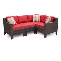 Hampton Bay Beverly 5 Piece Patio Sectional Seating Set With Cardinal  Cushions