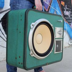 Jade | Vintage Aeropak green case with a mid 1980's Sansui 3-way speaker system and dome tweeter.