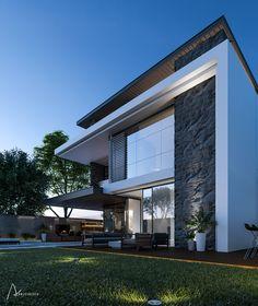 Modern Private Villa/ Exterior and interior on Behance Modern Exterior House Designs, Modern Villa Design, Bungalow Exterior, Exterior Design, Modern House Facades, Bungalow Haus Design, Duplex House Design, Luxury Homes Exterior, Luxury Homes Dream Houses