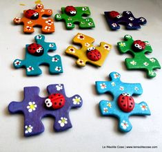 Puzzle Piece Crafts, Puzzle Pieces, Summer Camp Crafts, Camping Crafts, Home Crafts, Fun Crafts, Crafts For Kids, Unusual Things, Craft Business